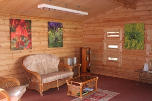 Inside the log cabin